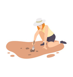 Female archaeologist sitting on ground vector