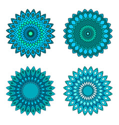 Floral emblems round decorative ornaments vector