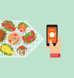 food delivery app on a smartphone with foods vector image