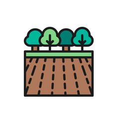 garden landscape flat color line icon vector image