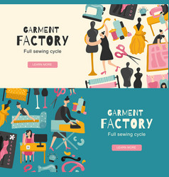 Garment factory horizontal banners vector