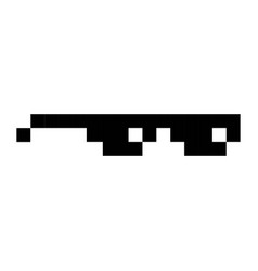 Glasses geek pixel art cartoon retro game style vector