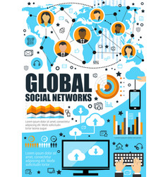Global social network and internet vector