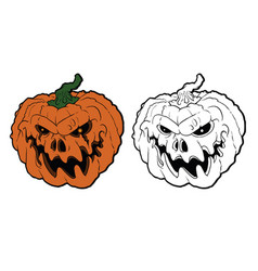 halloween pumpkin with scary face on white vector image