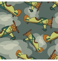 hand draw cartoon airplane seamless Eps10 vector image