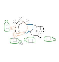 hand-drawn cartoon of drunk man lying on floor vector image