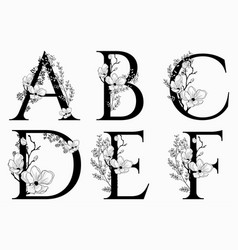 Hand drawn floral uppercase letters vector