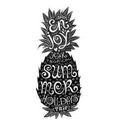 hand drawn grunge pineapple silhouette vector image