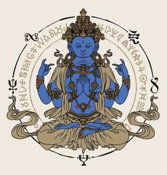 Hand drawn krishna meditating in lotus pose vector
