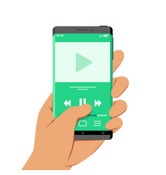 Hand holding smartphone with media or audio vector