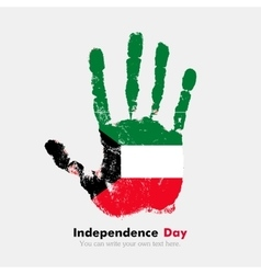 Handprint with the Flag of Kuwait in grunge style vector