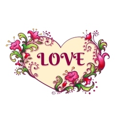Happy valentine day Heart with flowers and love vector image