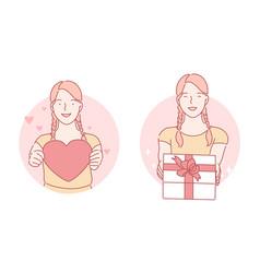 Heart gift birthday set concept vector