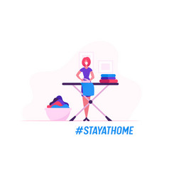 Housewife ironing clear linen at home during covid vector