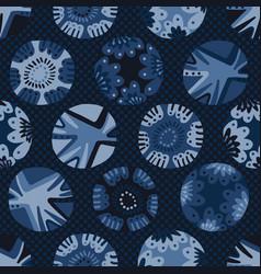 Indigo blue dye flower polka dot pattern vector