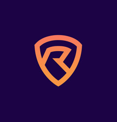 Initial letter r shield security safe logo icon ve vector