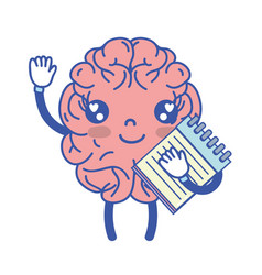 Kawaii happy brain with notebook tool vector