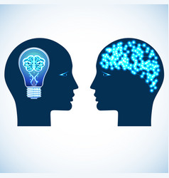 Lamp and shone brain concept heads of two people vector