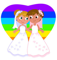 lesbian couple marriage vector image