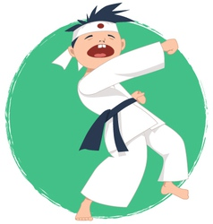 Little boy doing karate vector image