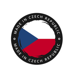 made in czech republic round label vector image