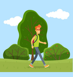 man with glasses walking with backpack on green vector image