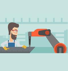 Man working on industrial welding robotic arm vector
