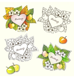 nature frames with flowers apples and autumn vector image
