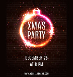neon light xmas party poster template vector image