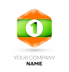 Number one logo in the colorful hexagonal vector