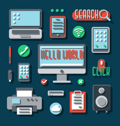 Office electronic devices for business vector