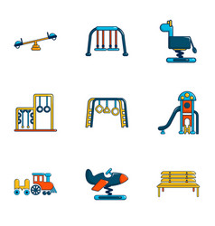 Outdoor sports ground icons set flat style vector