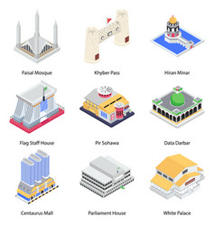 Pakistan culture and landmarks isometric icons pa vector