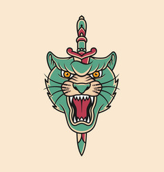 panther head and sword vector image