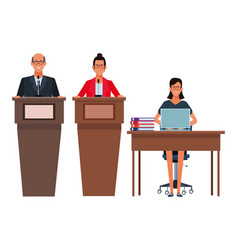 People in podium and desk vector