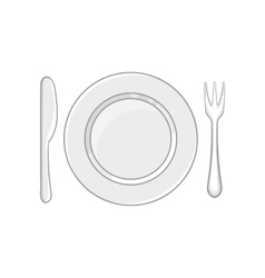 Plate with fork and knife icon monochrome style vector image
