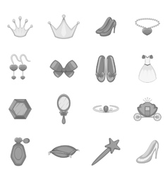 Princess doll icons set monochrome style vector