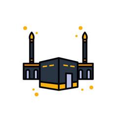 Ramadan kaaba line and fill style icon vector