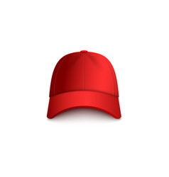 realistic red baseball cap mockup isolated on vector image