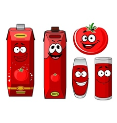 Red tomato vegetable and juice vector image