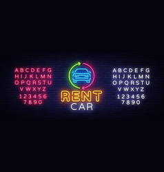 Rent car neon emblem design template trade vector
