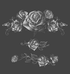 roses design elements garlands and bouquets over vector image