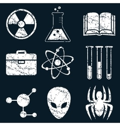 Science icon set white grunge vector