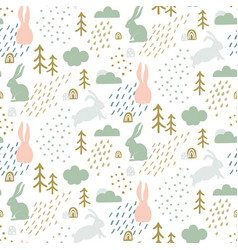 Seamless childish pattern with cute bunny vector