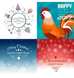 Set of Merry Christmas e-card template vector image