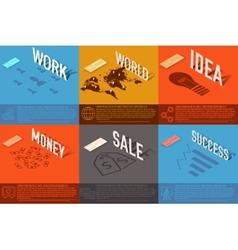 Set of perspective world idea sale success vector