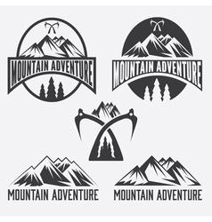 Set of vintage labels mountain adventure vector