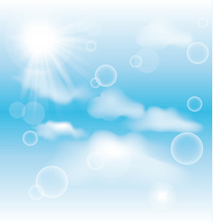 sky with clouds and radiating sun background vector image