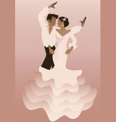 Spanish couple flamenco dancers vector