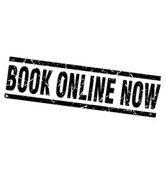 square grunge black book online now stamp vector image